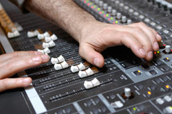 on the mixing console